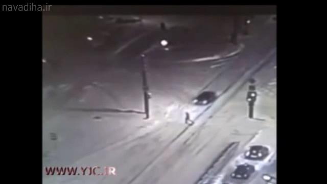 کلیپ تصادف وحشتناک در شب برفی